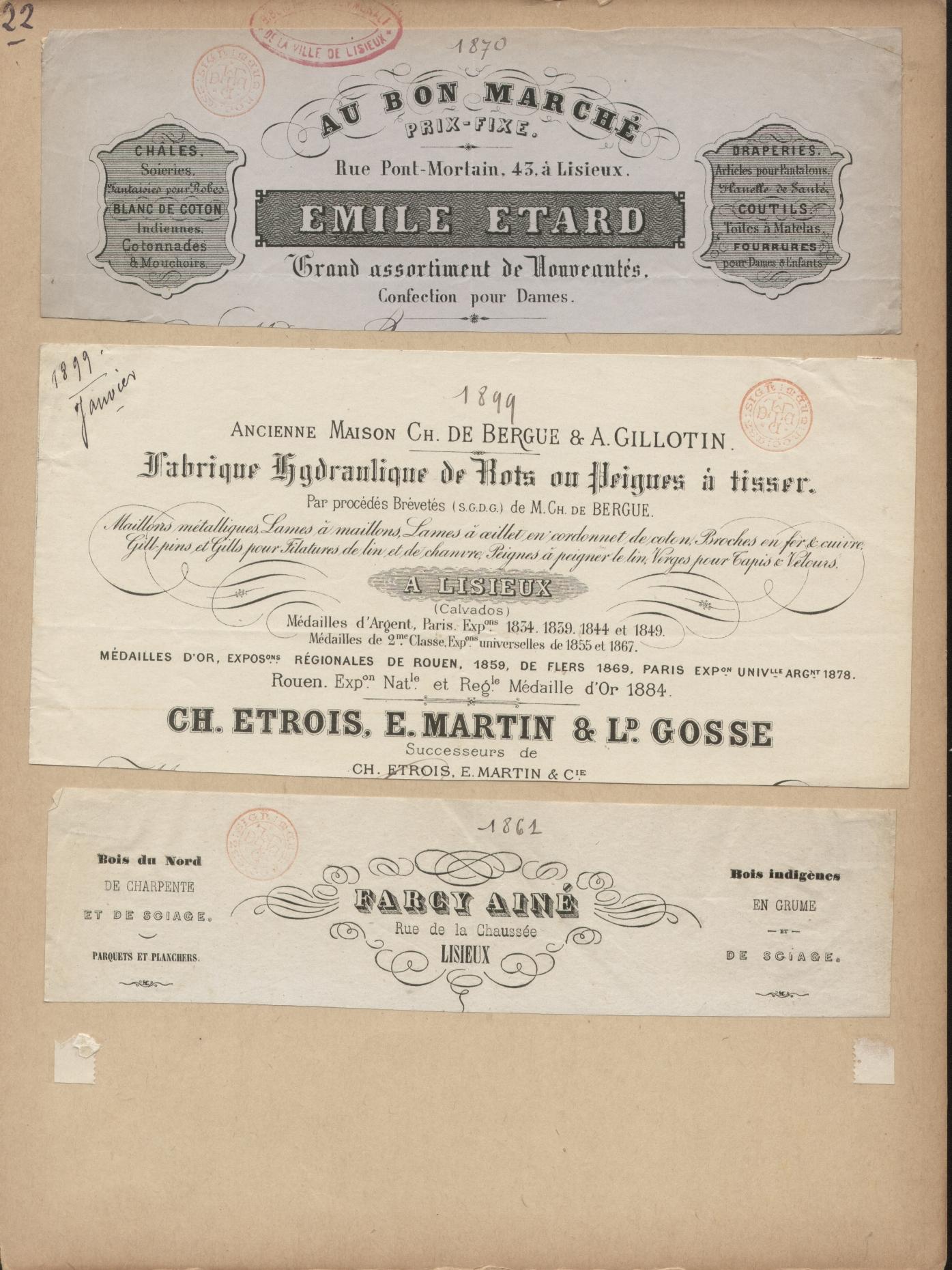 Collection d 39 en tte de lettres de maisons de commerce de for Ancienne maison marcel bauche