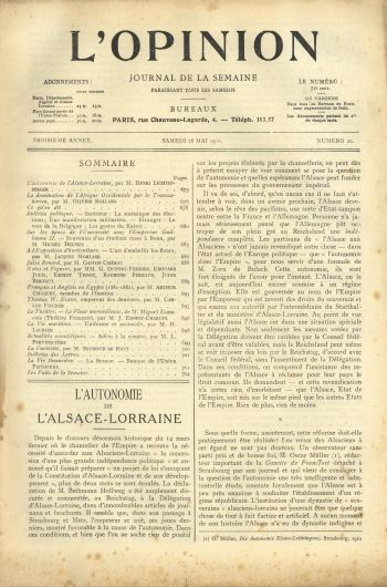 L'Opinion 28 mai 1910 - H. Lichtenberger