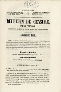 Bulletin de Censure - Novembre 1846