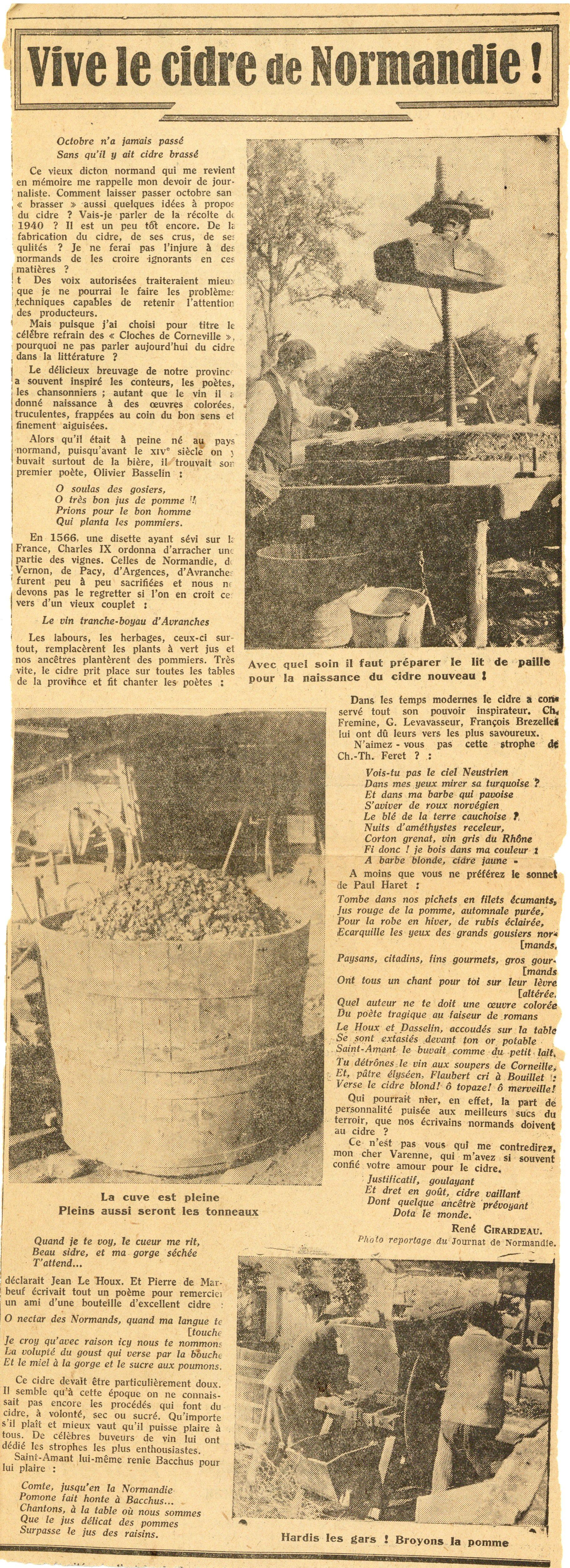 Cidre petites coupures de presse de ouest eclair et du journal de normandie - Journal de normandie ...