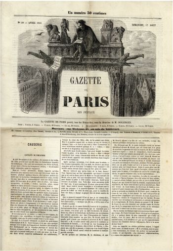 Gazette de Paris - 17 août 1856.